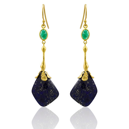 LIKA BEHAR Lapis& Emerald Dangle Earrings OC-E-501-GELL