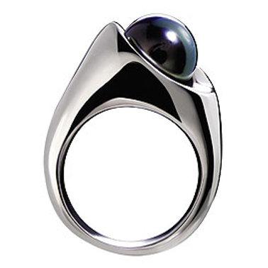 TAHIZEA Rhodium Plated Sterling Silver MATAI Tahitian Pearl Ring