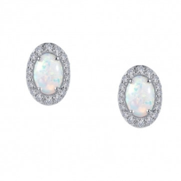 LAFONN Sterling Silver, Opal and Simulated Diamond Stud Earrings