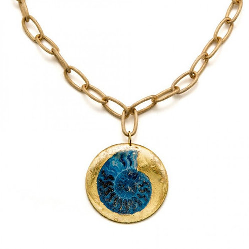 EVOCATEUR Fossil Blue Pendant and Chain