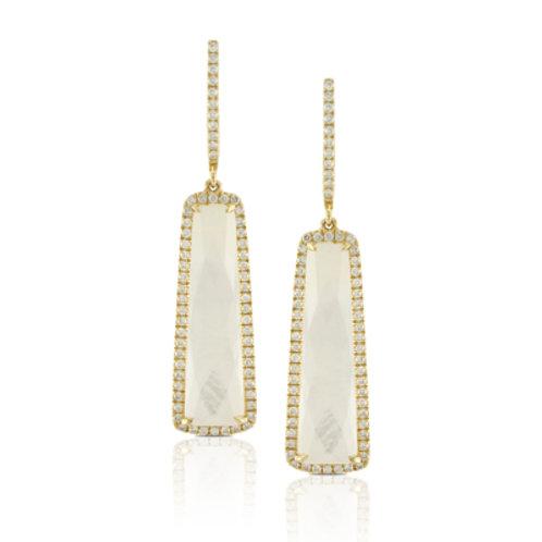DOVES White Orchid & Diamond Dangle Earrings
