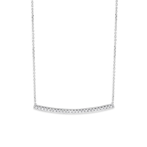 KC DESIGN Diamond Curved Bar and Chain Necklace in White 14K gold