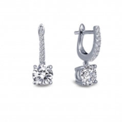 LAFONN Sterling Silver and 1.86tw Simulated Diamond Huggie Drop Earrings