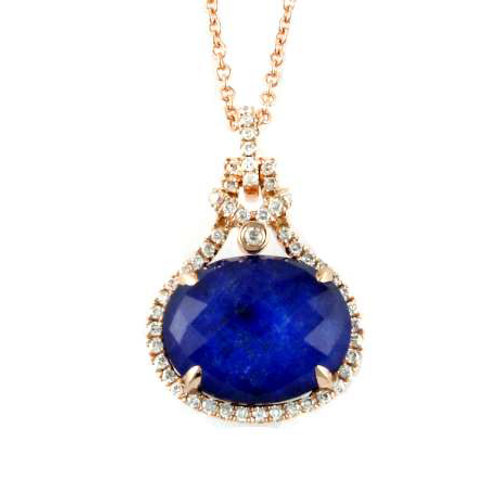 DOVES Royal Lapis Diamond Pendant in Rosé 18K Gold