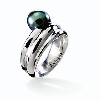 TAHIZEA Rhodium Plated Sterling Silver PAHI Tahitian Pearl Ring