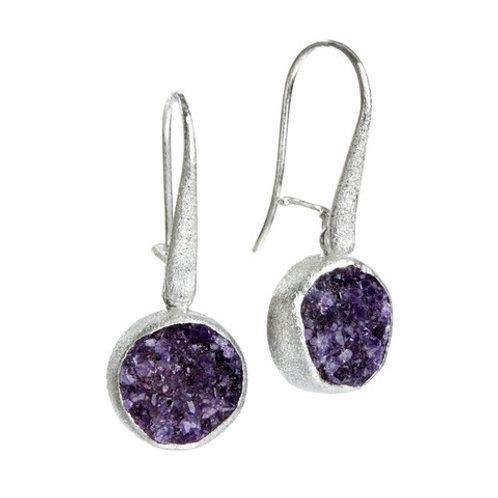 NINA NGUYEN Sterling Silver BAMBOO PETAL Amethyst Druzy Earrings