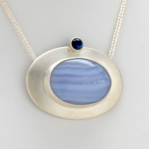 DAVID CRANDALL Blue Agate and Sapphire Sterling Silver Slide Pendant