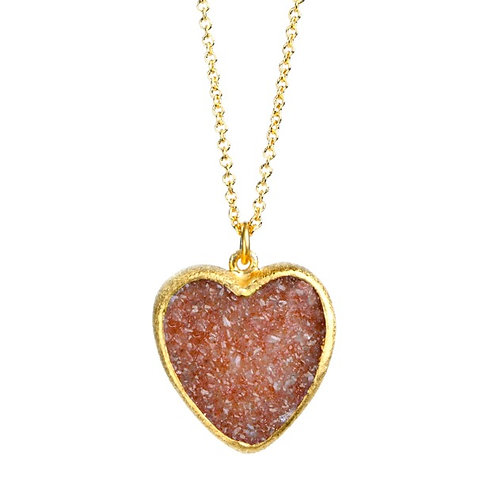 NINA NGUYEN Sterling Silver JULIETTE Sand Druzy Heart Pendant and Chain