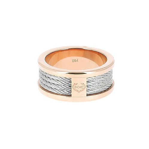 CHARRIOL Rose and Monochrome Stainless Steel FOREVER Thin Cable Ring