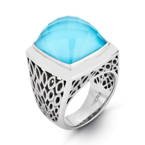 HERA Sterling Silver LIDO Ring with Aqua Mist Doublet