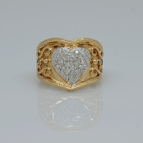 ESTATE Diamond Heart Wide Band
