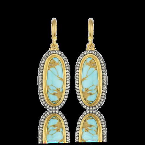 "LIKA BEHAR ""My World"" Kingman Turquoise & Cognac Diamond Earrings MY-E-100-GXCDT"