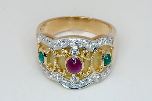 ESTATE Ruby, Emerald, Diamond Wide Band in Two Tone 18K Gold