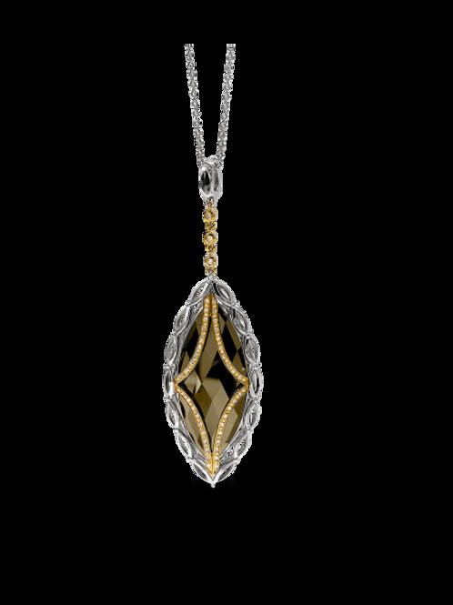 HERA Sterling Silver & Yellow 18K ALI Smokey Quartz & Diamond Pendant on Chain
