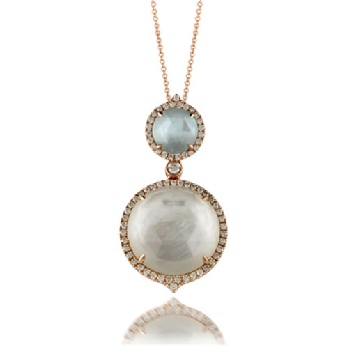 DOVES Ocean Mist Diamond Round Pendant in Rosé 18K Gold