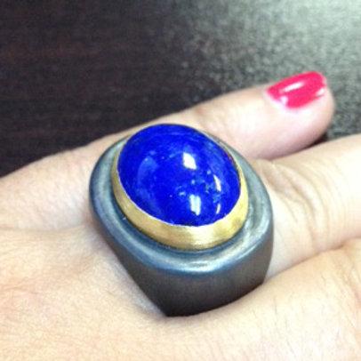 LIKA BEHAR Lapis Cabachon Ring RM-R-939-GOX-LA