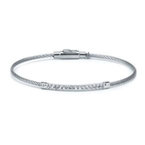 CHARRIOL Silver, Stainless Steel, and White Topaz LAETITIA Bangle