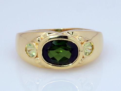 ESTATE Tourmaline & Peridot Ring in Yellow 18K Gold