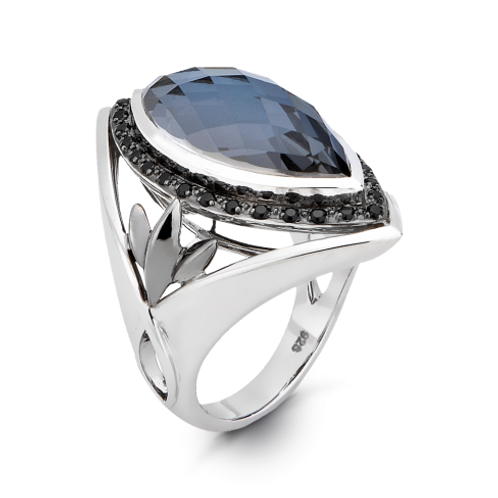 HERA Midnight Sterling Silver ATHENA Hematite Mist Shield Ring