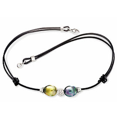 TAHIZEA Tahitian Pearl DUO PITI Black Leather Adjustable Bracelet