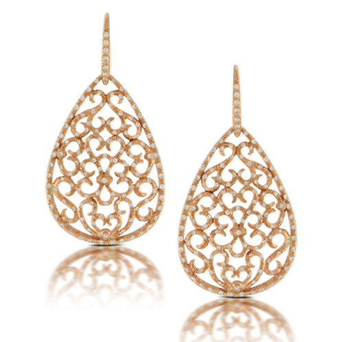 DOVES Diamond Filigree Teardrop Earrings in Rosé 18K Gold