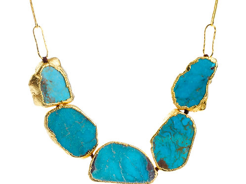 NINA NGUYEN 22K Gold Vermeil LOVE IN A MIST Turquoise Slice and Chain Necklace