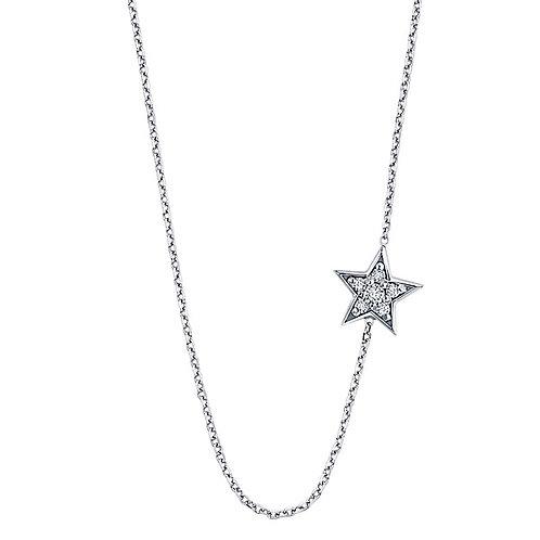KC DESIGN Diamond Sideways Star Necklace in White 14L Gold