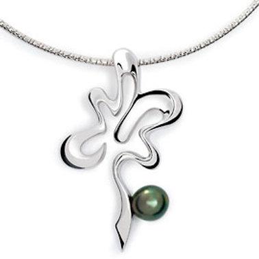 TAHIZEA Rhodium Plated Sterling Silver FARA Tahitian Pearl Necklace