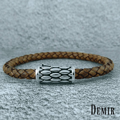 HERA Demir Men's Sterling Silver and 6mm Brown Braided Leather Bracelet