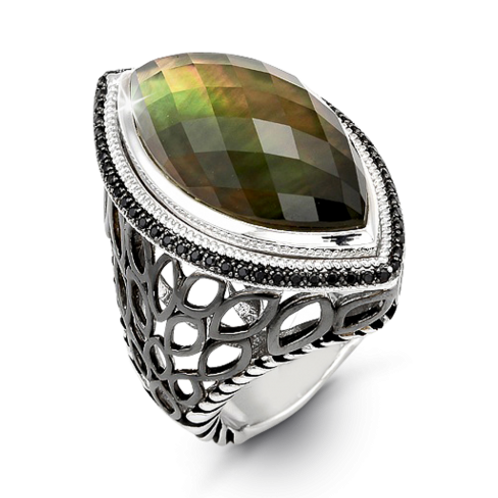 HERA Sterling Silver Paradise Leaf Ring with Olive Mist Gemstone