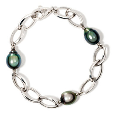 TAHIZEA Tahitian Pearl TRIO Rhodium Plated Sterling Silver Link Bracelet