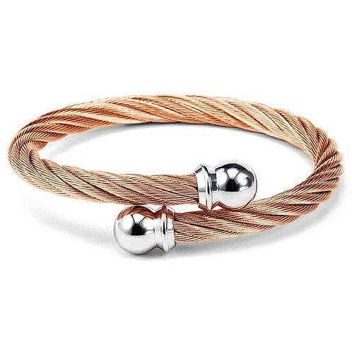 CHARRIOL Rose Tone Stainless Steel CELTIC 6mm Cable Bracelet