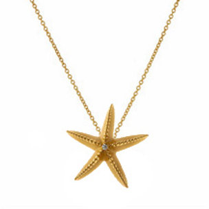 REBECCA HOOK Yellow Gold Vermeil Starfish Pendant with Diamond on Chain