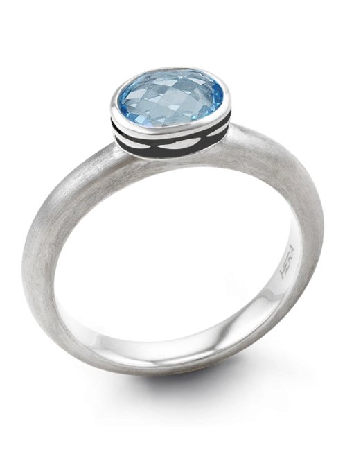 HERA Mystic Finish Sterling Silver COCKTAIL STAX Blue Lagoon Ring