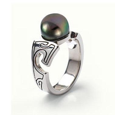 TAHIZEA Rhodium Plated Sterling Silver MAHOI Tahitian Pearl Ring