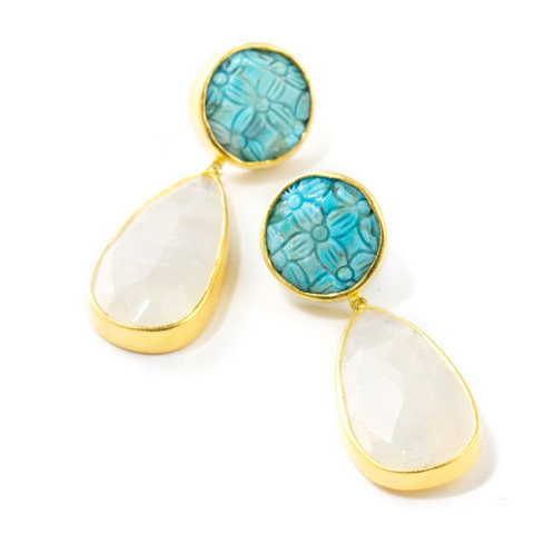 NINA NGUYEN 22K Gold Vermeil HA LONG BAY-ALOYA Turquoise & Moonstone Earrings