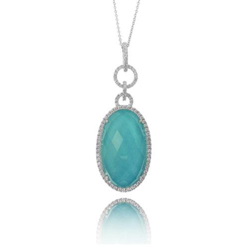 DOVES St. Barth's Blue & Diamond Oval Pendant