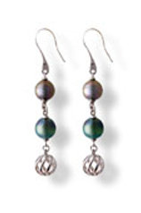 TAHIZEA Tahitian Pearl and Rhodium Plated Sterling Silver PATAA Earrings