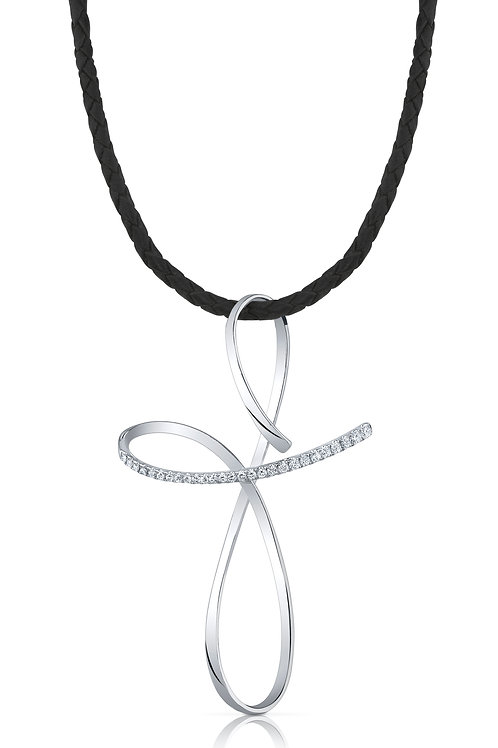 Diamond Freeform Cross in White 18K Gold on Leather Cord DP-179