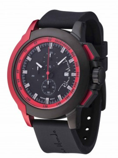 RITMO MUNDO Quantum II 50mm Stainless Watch with Black/Red Carbon Fiber Dial