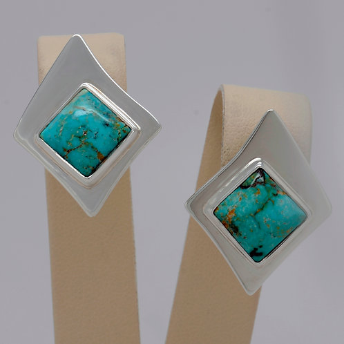 DAVID CRANDALL Large Sterling Silver Turquoise Earrings
