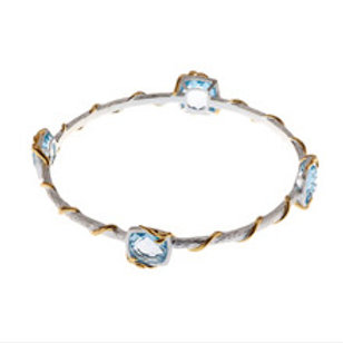 REBECCA HOOK Sterling Silver,Yellow Gold Vermeil, and Blue Topaz Vine Bangle