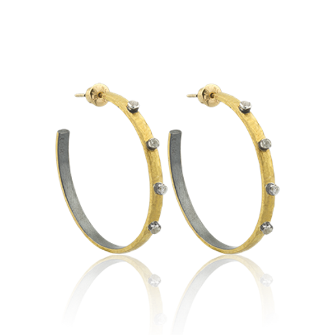 LIKA BEHAR Silver Fusion Hoop Earrings with White Sapphires FUS-E-140-GOXSA-1