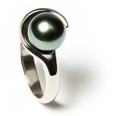 copy of TAHIZEA Rhodium Plated Sterling Silver TIOPE Tahitian Pearl Ring