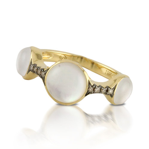 DOVES White Orchid & Chocolate Diamond Ring in White 18K Gold