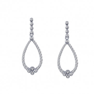 LAFONN Sterling Silver & Simulated Diamond Open Teardrop Earrings