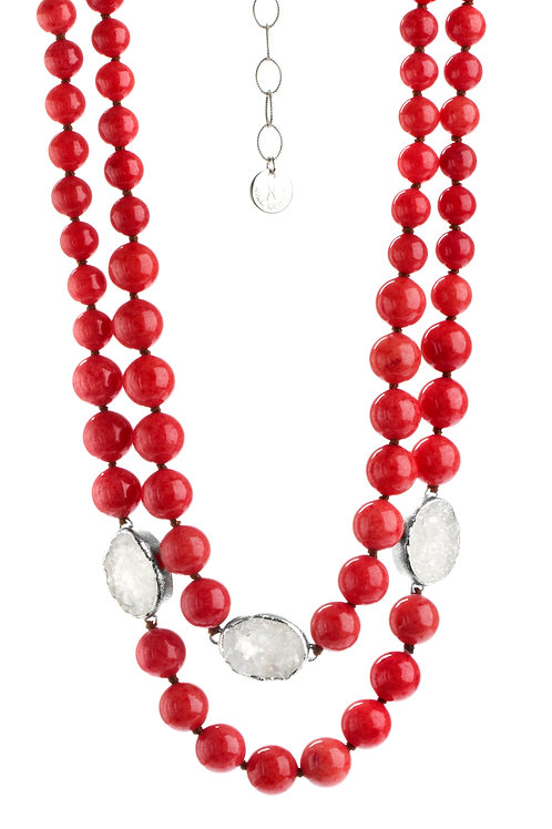 NINA NGUYEN Sterling SIlver DIVINE LOTUS Coral Jade Bead and White Druzy Necklac