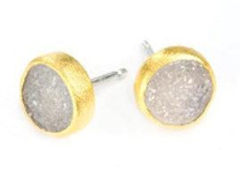 NINA NGUYEN 22K Gold Vermeil NIMBUS White Druzy Stud Earrings