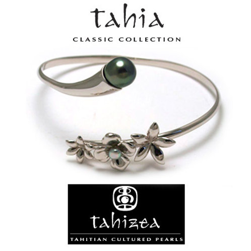 TAHIZEA Tahitian Pearl PITATE Rhodium Plated Sterling Silver Wrap Bracelet