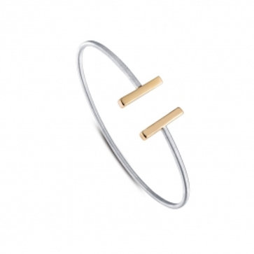 LAFONN Two Tone Sterling Silver Milano Open Bangle
